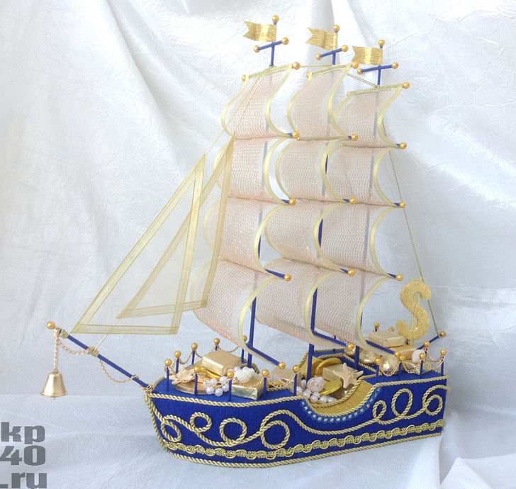 Букет из конфет корабль мастер класс